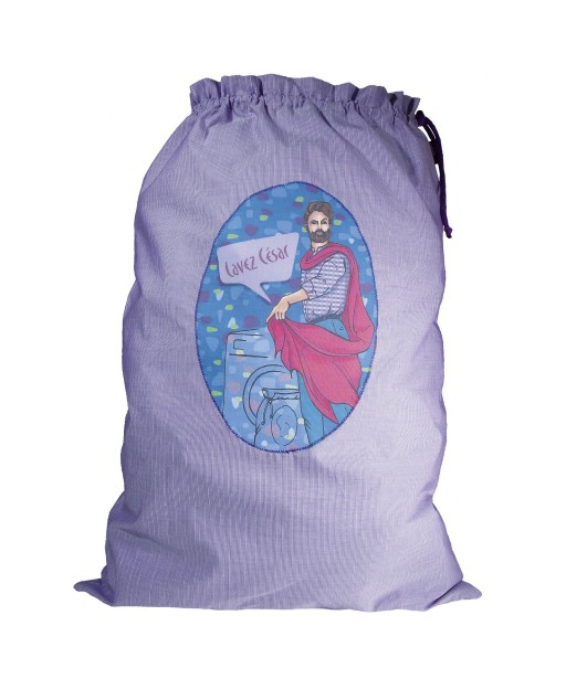 Sac à linge sale grand modèle illustration bleue