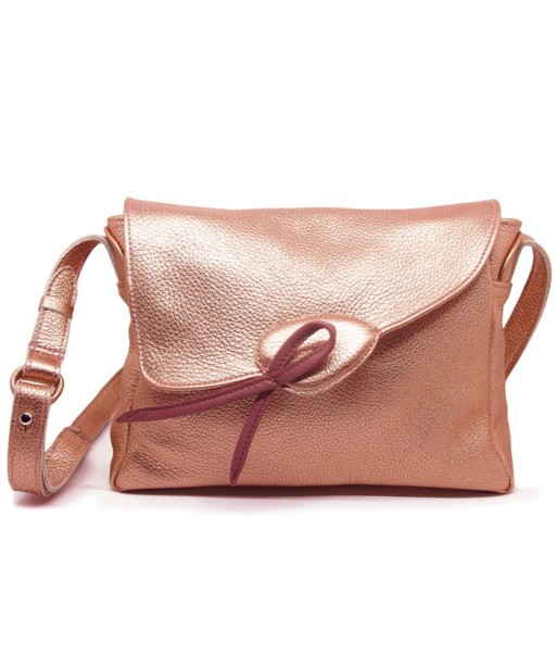 Sac Oh! en cuir de vachette or rose vu de face